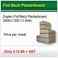 25 sheets 2400x1200x12.5mm foil backed plasterboard only £213.00 +VAT
